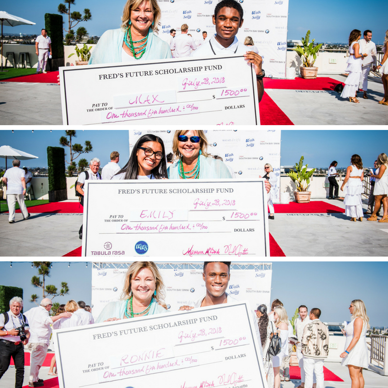 Fred's Future Scholarship recipients accepting their check's while volunteering as Junior Mentors at White Light White Night