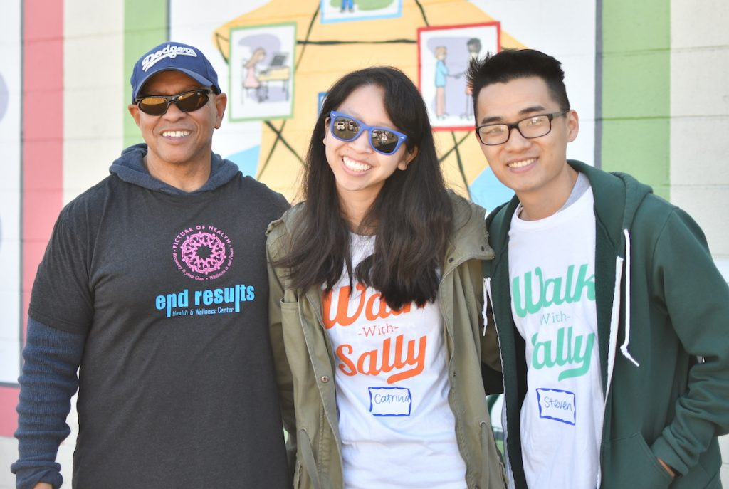 The team from End Results Health & Wellness Center hosts a relay race for mentor and mentee friendships at Walk With Sally's Friendship Activity in Los Angeles, California