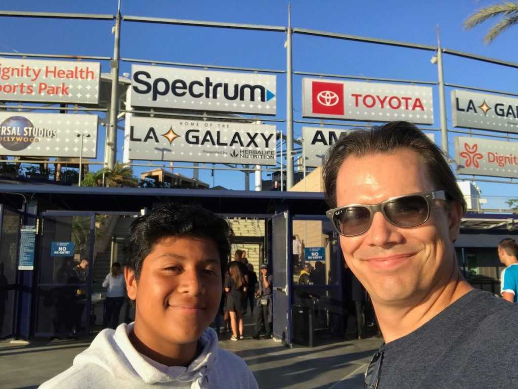 Mentor and Mentee Friendship Alrick and Bryan at a Walk With Sally Partner Activity with the Los Angeles Galaxy soccer team