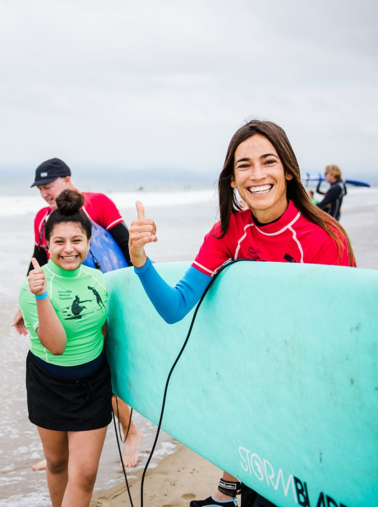 Mentee Camila at Walk With Sally's Surf Day Friendship Activity in Los Angeles