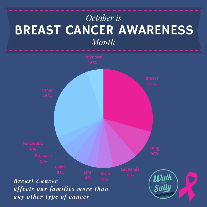 Graph showing Breast Cancer affects Walk With Sally families more than any other cancer