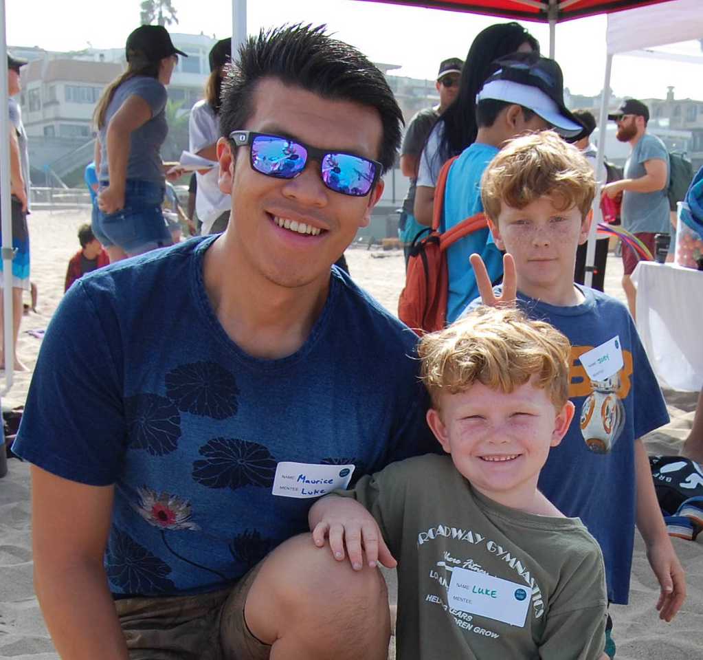 Friendship in action, mentor Maurice and Mentee Luke attend Walk With Sally's surf day Friendship Activity for the cancer community in Los Angeles