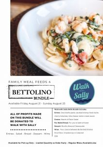 Bettolino Kitchen Pasta special family meal for Walk With Sally's White Light White Night