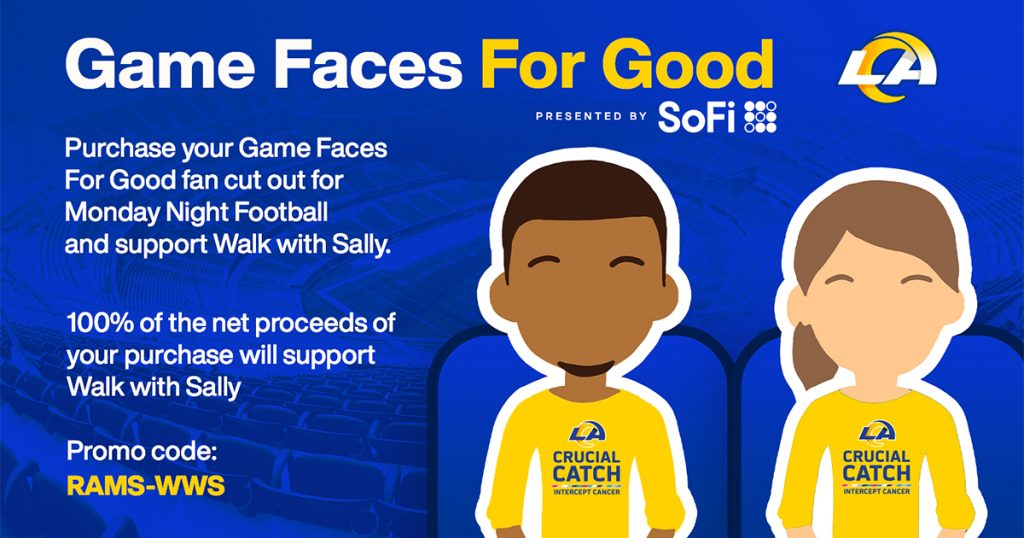 Game Faces for Good Los Angeles Rams support Walk With Sally donation