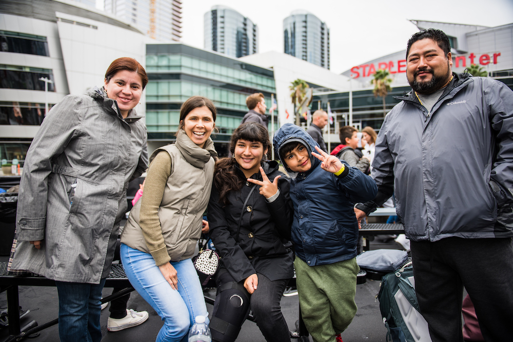 Nicole with Deborah and her family at Walk WIth Sally's Friendship Activity at Staples Center in Los Angeles